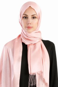 Verda Dusty Pink Satin Hijab Madame Polo 130015-1