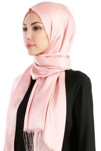 Verda Dusty Pink Satin Hijab Madame Polo 130015-2