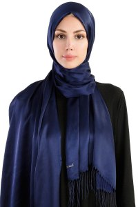 Verda Navy Blue Satin Hijab Madame Polo 130013-1