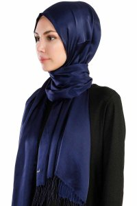 Verda Navy Blue Satin Hijab Madame Polo 130013-2