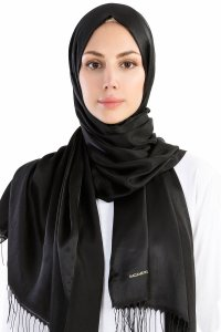 Verda Black Satin Hijab Madame Polo 130008-1