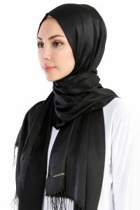 Verda Black Satin Hijab Madame Polo 130008-2