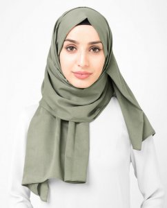 Vetiver - Khaki Licorice - Anthracite Cotton Voile Hijab Shawl Scarf InEssence Ayisah 5TA46a