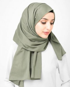 Vetiver - Khaki Licorice - Anthracite Cotton Voile Hijab Shawl Scarf InEssence Ayisah 5TA46b