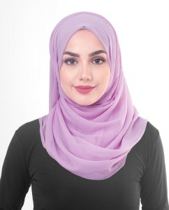 Violet Tulle - Light Purple Poly Chiffon Hijab 5RA56a