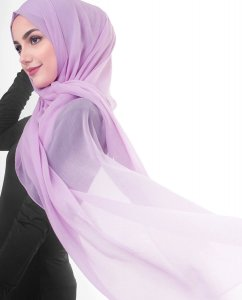 Violet Tulle - Light Purple Poly Chiffon Hijab 5RA56b
