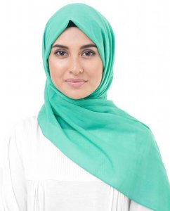 Vivid Green Grön Bomull Voile Hijab InEssence 5TA67a