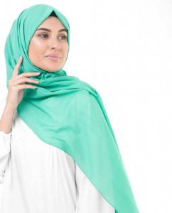 Vivid Green Green Cotton Voile Hijab InEssence 5TA67b