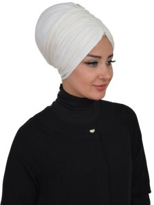Wilma Creme Bomull Turban Cancer Krebs Ayse Turban 321308-2