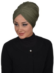 Wilma Khaki Bomull Turban Cancer Krebs Ayse Turban 321313-2