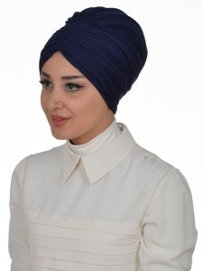 Wilma Marinblå Bomull Turban Cancer Krebs Ayse Turban 321301-2