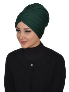 Wilma Mörkgrön Bomull Turban Cancer Krebs Ayse Turban 321314-2