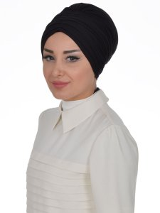 Wilma Svart Bomull Turban Cancer Krebs Ayse Turban 321306-2