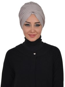 Wilma Taupe Bomull Turban Cancer Krebs Ayse Turban 321302-1
