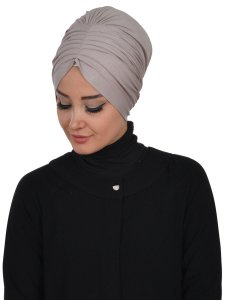 Wilma Taupe Bomull Turban Cancer Krebs Ayse Turban 321302-2