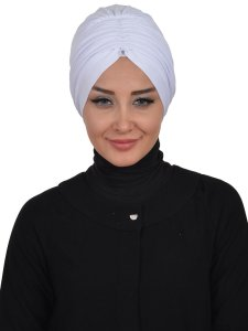 Wilma Vit Bomull Turban Cancer Krebs Ayse Turban 321312-1