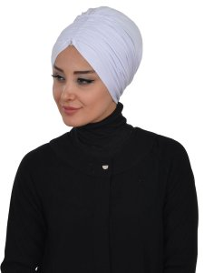 Wilma Vit Bomull Turban Cancer Krebs Ayse Turban 321312-2