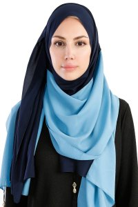 Yelda Navy Blue & Light Blue Chiffon Hijab Shawl Scarf  Madame Polo 130039-1