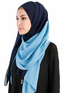 Yelda Navy Blue & Light Blue Chiffon Hijab Shawl Scarf  Madame Polo 130039-2
