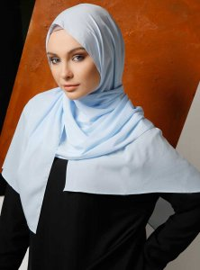 Zahra Light Blue Crepe Hijab Mirach 110024a