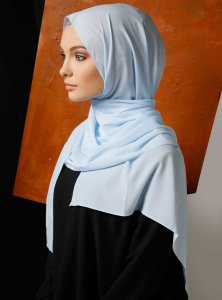 Zahra Light Blue Crepe Hijab Mirach 110024b