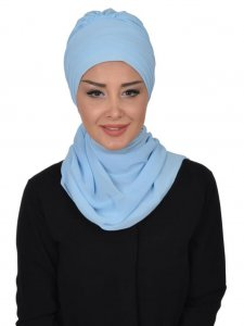 Zoe Light Blue Chiffon Turban Ayse Turban 322805a