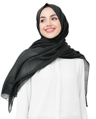 Black Night - Svart Bomull Voile Hijab 5TA40a