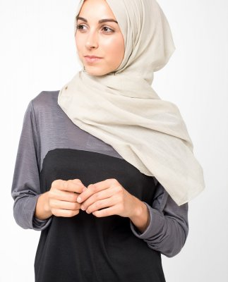 Chateau Grey Chateau Grå Bomull Voile Hijab 5TA3