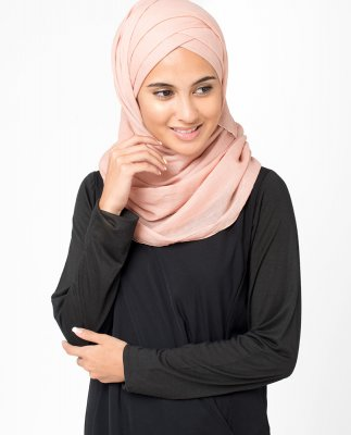 Rose Dust Korall Bomull Voile Hijab 5TA17