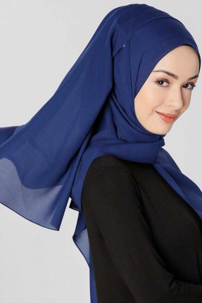 Ayla Dark Navy Blue Chiffon Hijab Buy online from Ayisah