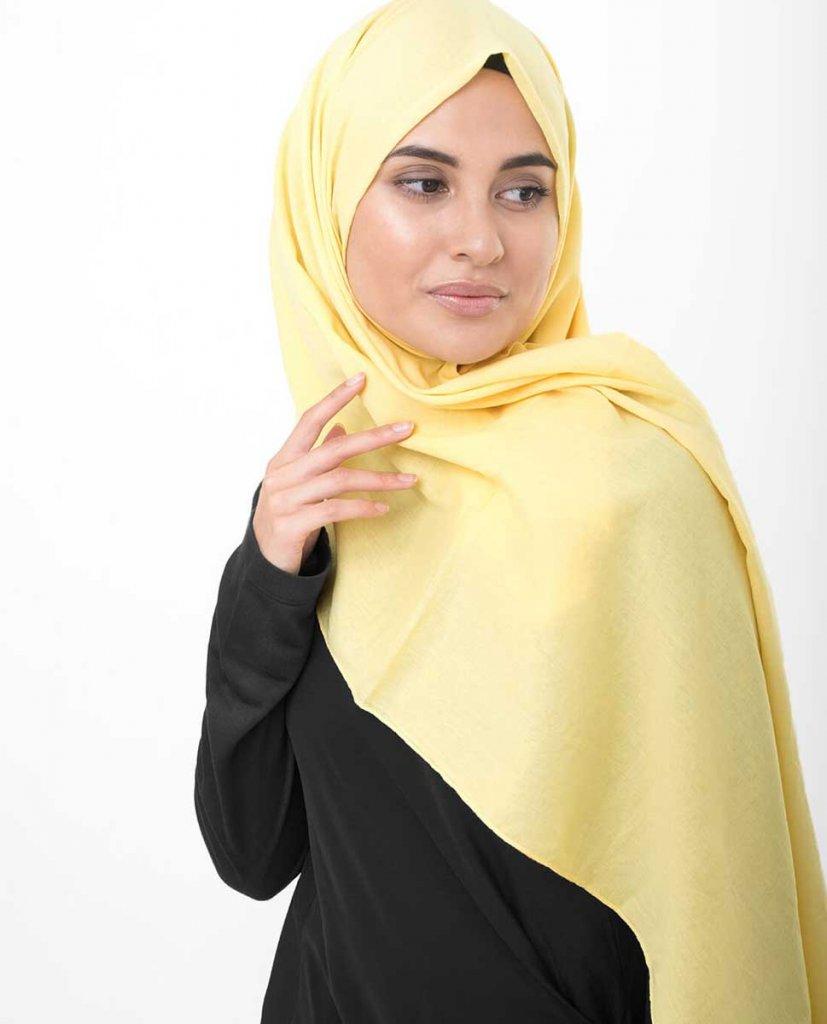 Goldfinch - Light Yellow Cotton Voile Maxi Hijab - Ayisah.com