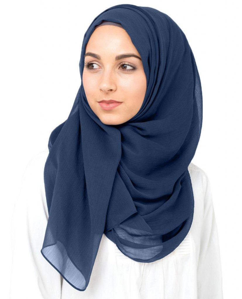 Indigo Night Navy Blue Polychiffon Hijab From InEssence