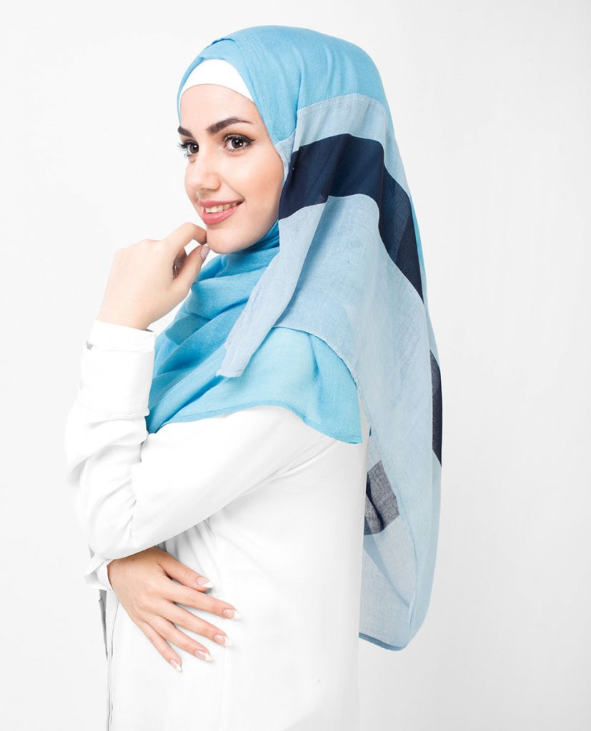 Misty - Lightblue Patterned Hijab From Silk Route - Ayisah.com
