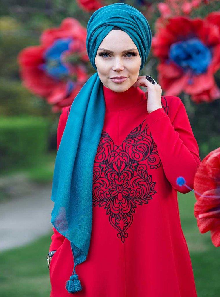 Queen - Petrol Green Fringed Hijab From Muslima Wear